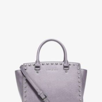 Selma Studded Saffiano Leather Satchel | Michael Kors