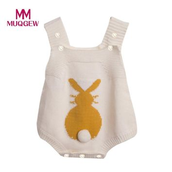 MUQGEW Newborn Infant Baby Boy Girl Rabbit Romper Knitted Bunny Jumpsuit Outfit Clothes