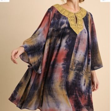 UMGEE Multi-Colored 3/4 Bell Sleeve Dress with Lace Trimmed Peasant Collar and Keyhole