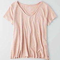 AEO V-Neck Raw Edge T-Shirt, Light Pink