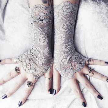 Aolani Long Lace Gloves Fingerless - Pale Grey Dove Silver Ornate Floral Embroidered - Wedding Glove Bridal Noir Bellydance Mori Gothic Goth