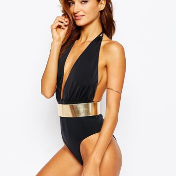 ASOS Metallic Belted Plunge Halter Swimsuit