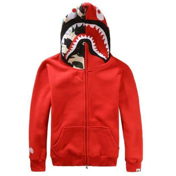 ONETOW Bape Aape Shark Hoodies Men's plus velvet sweater Men's and women's lovers hooded jacket Red