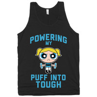 Powering My Puff Into Tough 3, Blue, Power Puff Girls Workout Tank Top, American Apparel T Shirt