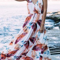 White Random Tropical Leaves V-Neck Halter Maxi Dress