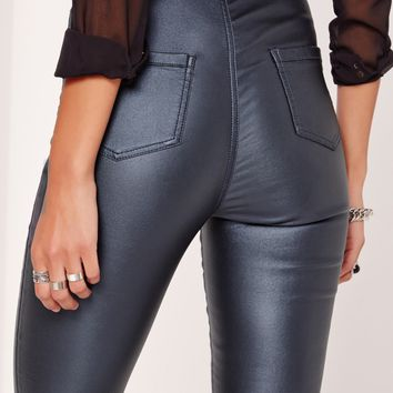 Missguided - Vice High Waisted Coated Skinny Jeans Blue