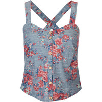 Full Tilt Floral Chambray Corset Multi  In Sizes