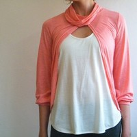 Free shipping  Salmon pink coral top with shawl by MyLolaFashion