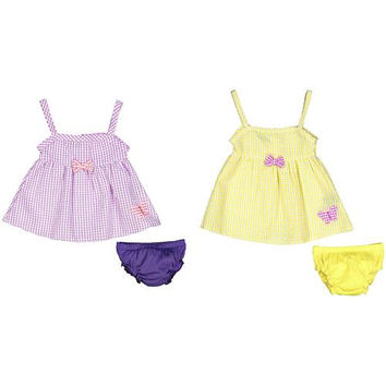 Baby Girl Seersucker Dress with Panty - Plaid