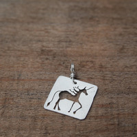 sterling silver unicorn pendant