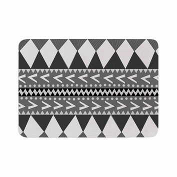 "Nika Martinez ""Black Forest"" Gray White Memory Foam Bath Mat"