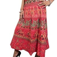 Indian Wrap Around Skirt Red Pecock Printed Cotton Wrapskirt
