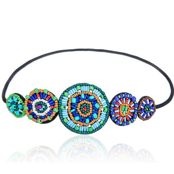 Metting Joura Vintage Bohemian Ethnic Turquoise Seed Beads Braided Flower  Handmade Elastic Headband Hair Band Hair Accessories