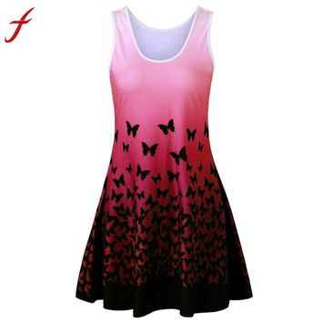 Women Popular Dress New Womens Butterfly Printing Sleeveless Party Dress Vintage Casual Dress Summer Style Plus Size