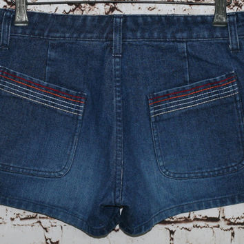 90s High Waist Denim Shorts Rainbow Festival Boho Hippie Hipster Grunge Pride Rave Dark Wash 30 M 70s Jean Waisted