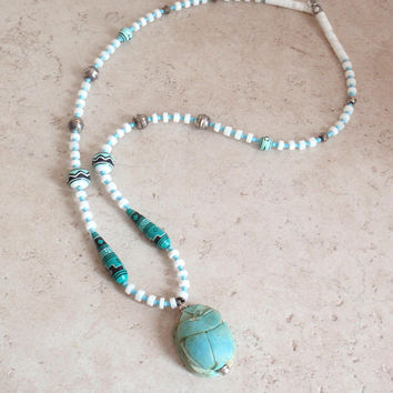 Blue Scarab Necklace Egyptian Faience Sterling Findings Ceramic Onyx Vintage V0788