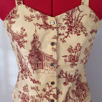 Retro 50s 60s Inspired Toile Brown Red/ Sleeveless/ Rockabilly Summer Spring/ Cotton