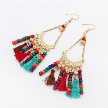 East Indian Woolen Long Tassel Dangle Ethnic Women Earrings