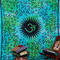 "Indian ""Om"" Print Tapestry, Hippie Hippy Indian Tapestry, Wall Hanging, Queen Size Bed Decor Besspread Ethnic Decorative Art"