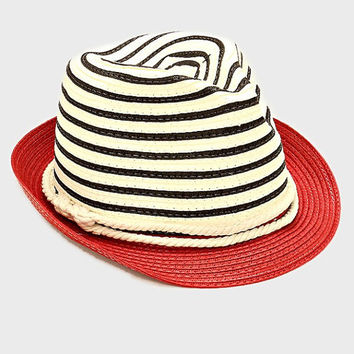 Womens Red Two Tone Straw Fedora Hat Nautical Rope Band Accent Beach, Pool, Vacation, Summer Hat
