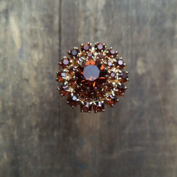 Vintage Ring Rhinestones Accessories Jewelry For Her Adjustable Brown Root Beer
