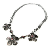 Flower Statement Necklace, Antique Silver Toned Metal with Pink Rhinestones and Adjustable Chain