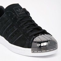 Adidas | adidas Originals Superstar 80s Black Metal Toe Cap Sneakers at ASOS