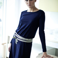 Deep blue cotton Muse dress with striped strap by LeMuse on Etsy