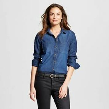 Women's Denim Favorite Shirt Dark Indigo XL - Merona™ : Target