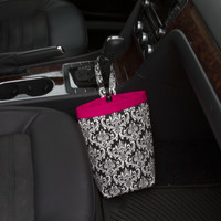 Car Trash Bag ~ Black Damask ~ Hot Pink Band ~ Gearshift Handle ~ Oilcloth Lining