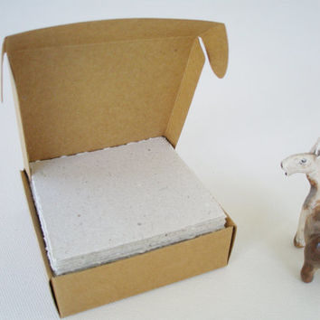 Note Paper - Llama Poo - Handmade - Recycled Note Paper -  Hand Torn Note Paper - Recycled Note Paper - Box of Note Paper - Boxed Paper