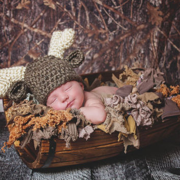 Reindeer Baby Hat Newborn Photo Prop Deer Baby Hat Woodland Creature Newborn Baby Girl Hat Newborn Baby Boy Hat Animal Ear Hat Antlers Brown