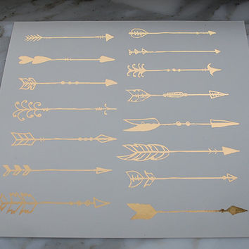 Bohemian Arrow Tattoo, Metallic Gold Arrow Tattoos, Temporary Tattoo, Gold Foil Arrow Tattoos