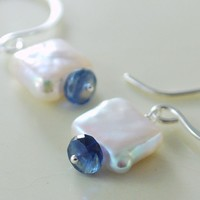 Freshwater Pearl Earrings with Kyanite Sterling by livjewellery