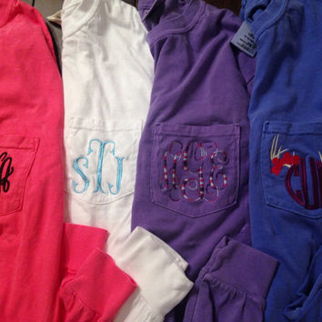 Monogrammed Long Sleeve Pocket Tee, Comfort Colors Vintage Wash T-Shirt, Monogram Long Sleeved