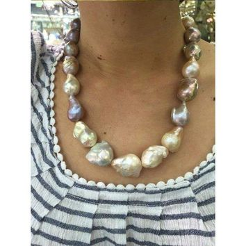 Luxinelle Multi Color Natural Baroque Pearl Necklace - Big Pearls