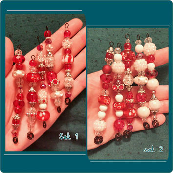 Choose Your Set:  Festive Beaded Icicle Ornaments in Red, Silver, and White - Black Wire - Set of 5