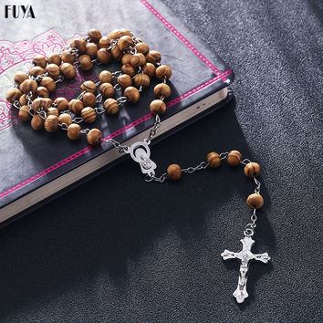 High Quality Fashion Rosary Wood Beads DIY Necklaces For Men Women Virgin Mary Jesus Christ Cross Pendant Long Chain Jewelry