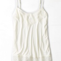 AEO Women's Dot Mesh & Lace Tank