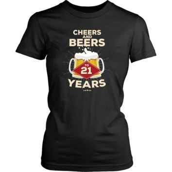 Women's 21st Birthday T-Shirt Gift - Cheers and Beers to 21 Years