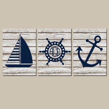 Anchor Sailboat Wall Art, CANVAS or Print, Ocean Bathroom Decor, Nautical Monogram Initial, Wood Coastal Boy Nursery, Wheel Set of 3 Decor