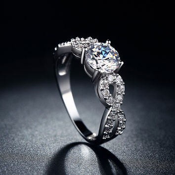 Wedding Rings white gold plated CZ Diamond jewelry ring vintage Infinity style band
