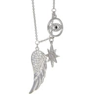 Dear Deer White Gold Plated Evil Eye Star Wing CZ Pave Pendant Necklace