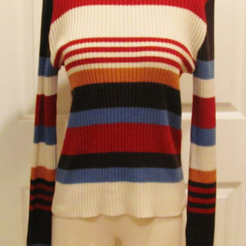 Vintage Sweater 70 Sweater Stripe Sweater XL Sweater Winter Wear Colorful Sweater Hippie Sweater Hippie Clothes Plus Size Sweater Colorblock