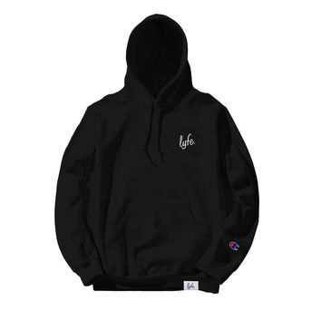 LYFE Script Embroidered Hoodie - Black