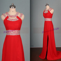2015 long red chiffon prom gowns with sequins,cheap elegant women dress for evening party,new floor length prom dresses hot.