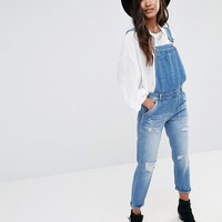 Boohoo Distressed Festival Denim Dungaree