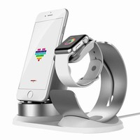GK4S2 Apple Watch Stand Aluminum[4 in 1 Charger Stand]iWatch AirPods Accessories Apple Pencil Desktop Charging Dock Station Holder for iPhone X/8/8Plus/7s/7sPlus/6s/6sPlus/5s/iPod/iPadmini watch3/2/1-Silver