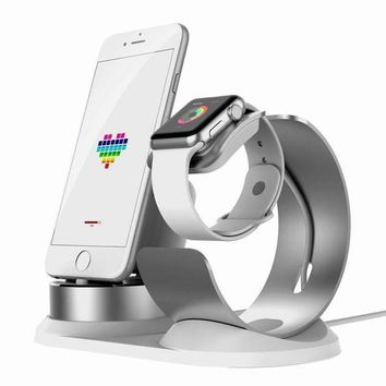 DCK4S2 Apple Watch Stand Aluminum[4 in 1 Charger Stand]iWatch AirPods Accessories Apple Pencil Desktop Charging Dock Station Holder for iPhone X/8/8Plus/7s/7sPlus/6s/6sPlus/5s/iPod/iPadmini watch3/2/1-Silver