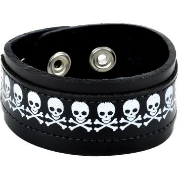 "Black & White Skull & Crossbones Leather Wristband Cuff Bracelet 1-1/4"" Wide"